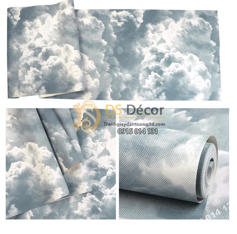 Bề mặt Giấy dán tường mây xám xanh mới 2021 - 3D338