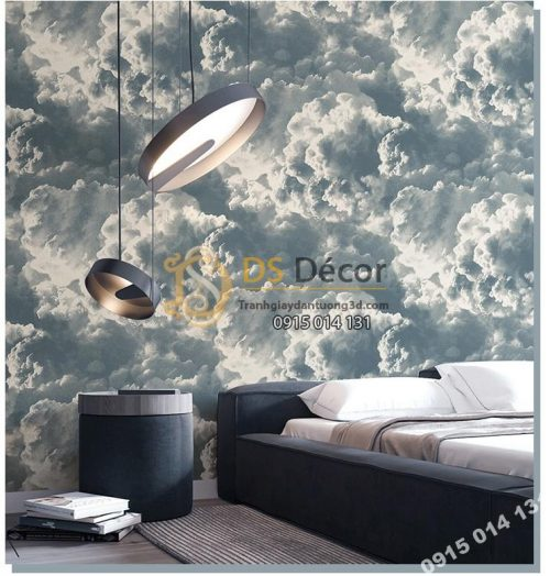 Giấy dán tường mây xám xanh mới 2021 - 3D338 phòng ngủ 1