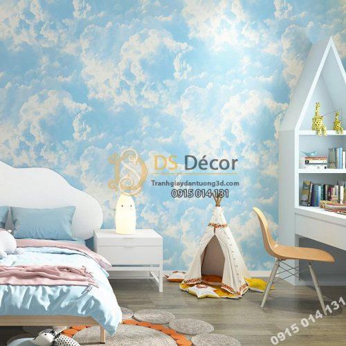 Giấy dán tường mây xanh mới 2021 - 3D338 phòng trẻ em