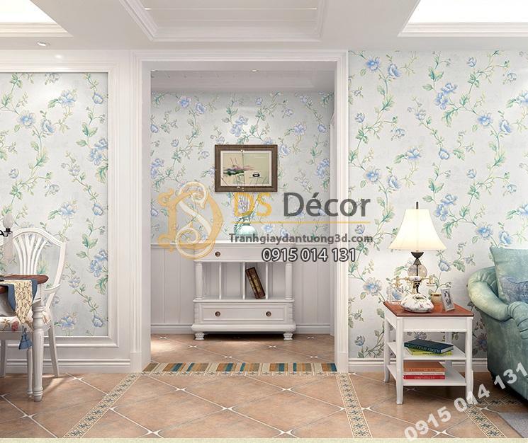 Giấy-Dán-Tường-hoa-hồng-Kiểu-Continental-Damascus-3D193 màu xanh chung cư