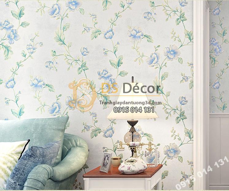 Giấy-Dán-Tường-hoa-hồng-Kiểu-Continental-Damascus-3D193 màu xanh phòng ngủ