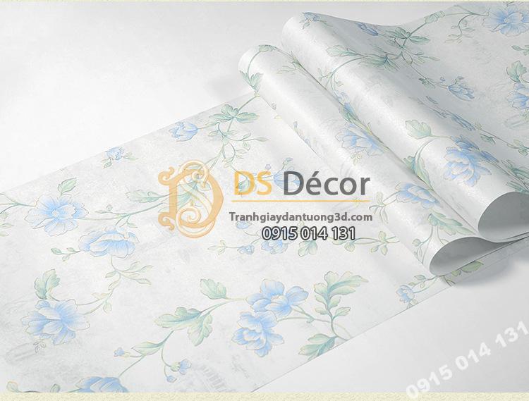 Giấy-Dán-Tường-hoa-hồng-Kiểu-Continental-Damascus-3D193 màu xanh