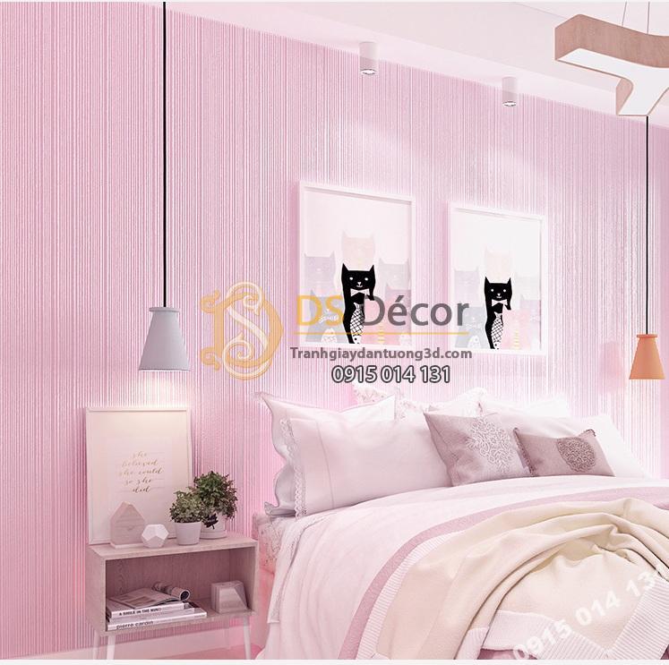 Giấy dán tường 1 màu hồng giá rẻ 199k phòng ngủ 1