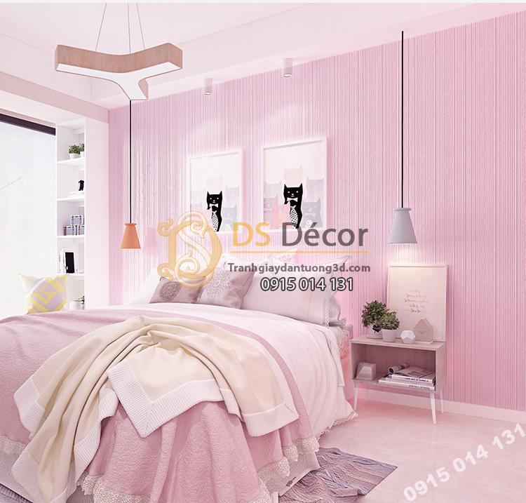 Giấy dán tường 1 màu hồng giá rẻ 199k phòng ngủ 2