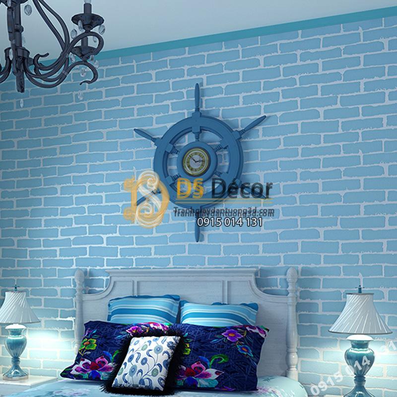 Giấy dán tường gạch xanh giá rẻ 199k phòng ngủ