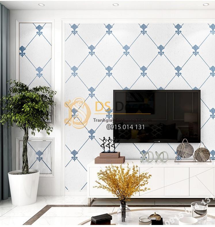 Giấy dán tường giả đá marble màu trắng xanh giá rẻ 199k phòng khách 2