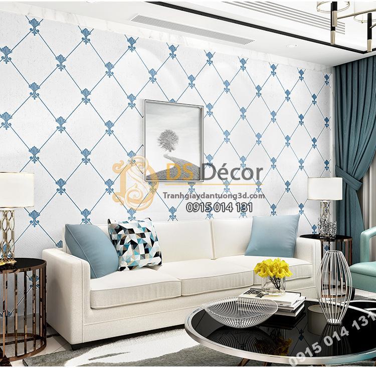 Giấy dán tường giả đá marble màu trắng xanh giá rẻ 199k phòng khách