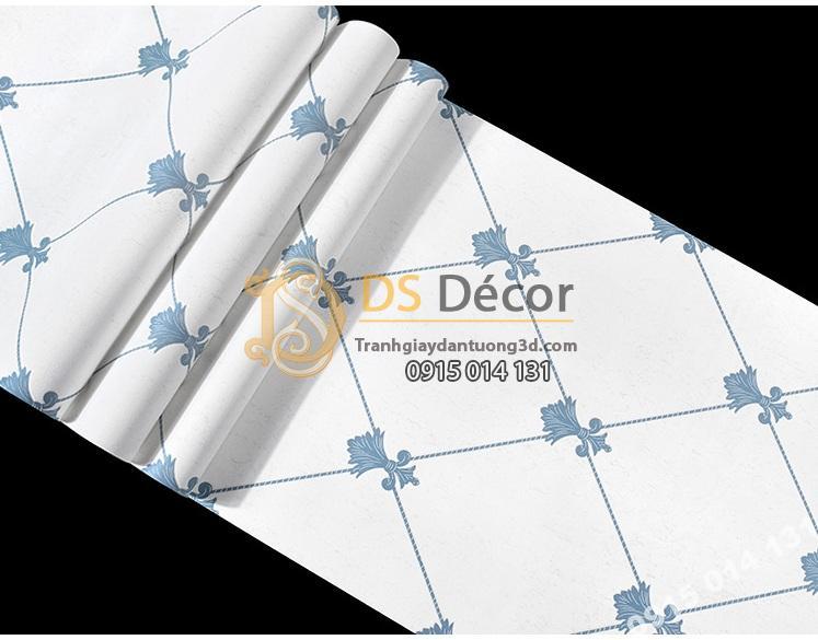 Giấy dán tường giả đá marble màu trắng xanh giá rẻ 199k