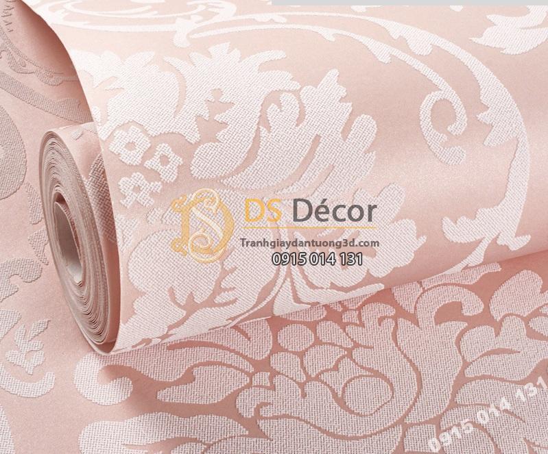 Giấy dán tường hoa châu âu màu hồng giá rẻ 199k