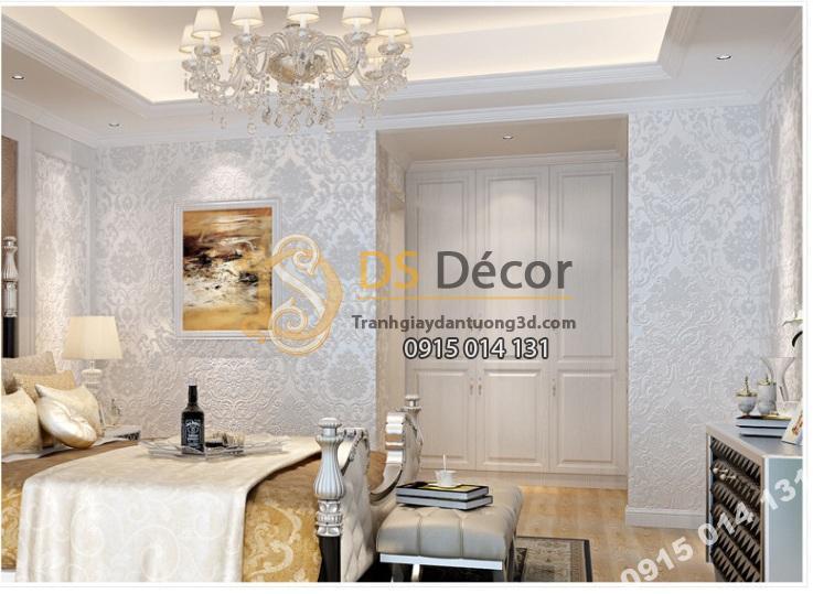 Giấy dán tường hoa châu âu màu trắng giá rẻ 199k phòng ăn