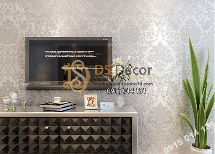 Giấy dán tường hoa châu âu màu trắng giá rẻ 199k phòng khách