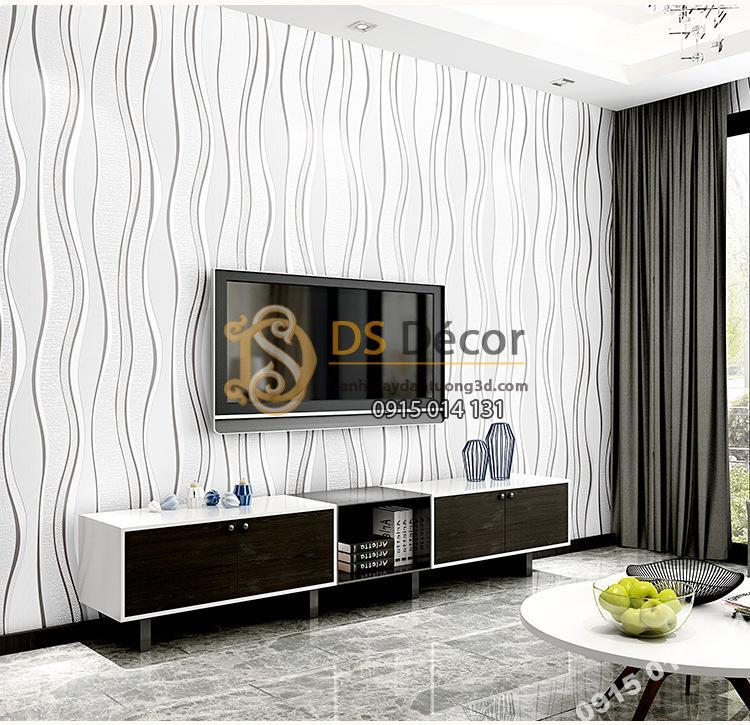 Giấy dán tường lượn sóng trắng dán phòng khách sau tivi