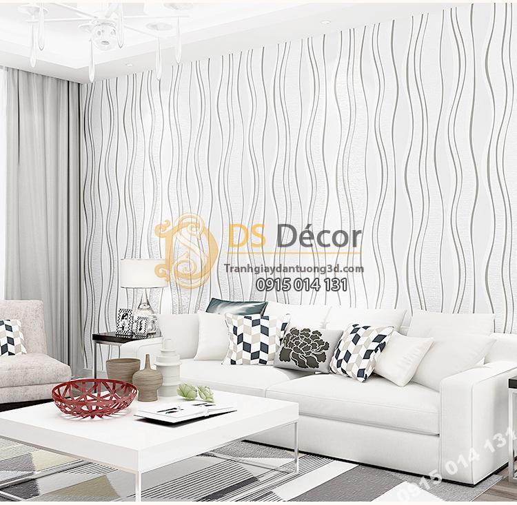 Giấy dán tường lượn sóng trắng dán phòng khách sau sofa