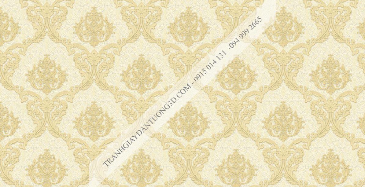 Giấy dán tường hoa châu âu màu vàng 23045