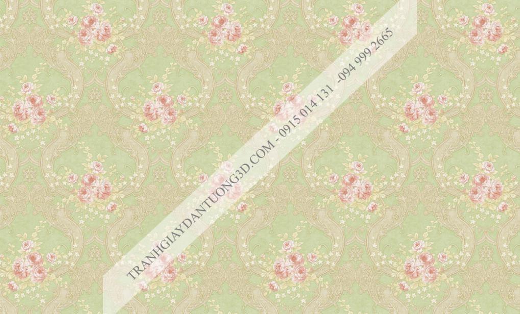 Giấy dán tường hoa châu âu màu xanh lá cây Fiesta mã 23026