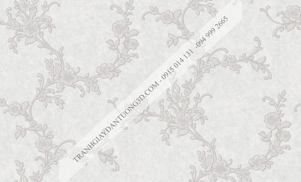 Giấy dán tường hoa dây leo trắng bạc damacus 23254