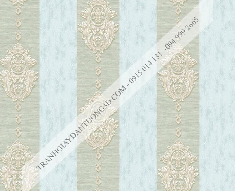 Giấy dán tường sọc dọc hoa châu âu xanh 14044