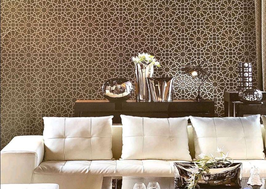 Giấy dán tường Sole họa tiết hoa tròn cách điệu 27034 phối cảnh