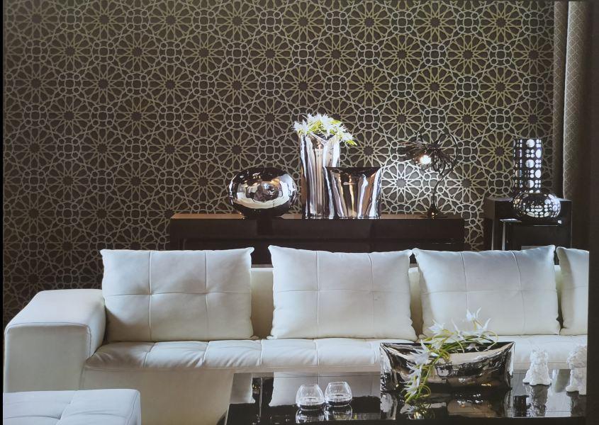 Giấy dán tường Sole họa tiết hoa tròn cách điệu 27036 phối cảnh