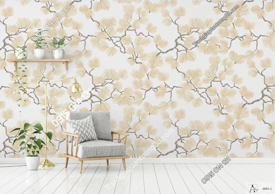 Giấy dán tường cây hoa kiểu trung hoa màu be 6801-1 KG