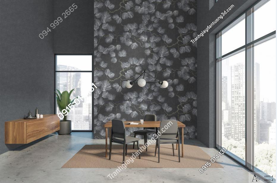 Giấy dán tường cây hoa kiểu trung hoa màu trắng nền đen 6801-4, 6902-4 KG