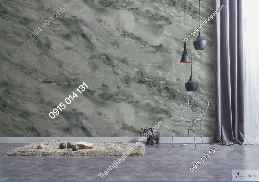 Giấy dán tường giả đán cẩm thạch xanh rêu 6807-3 KG