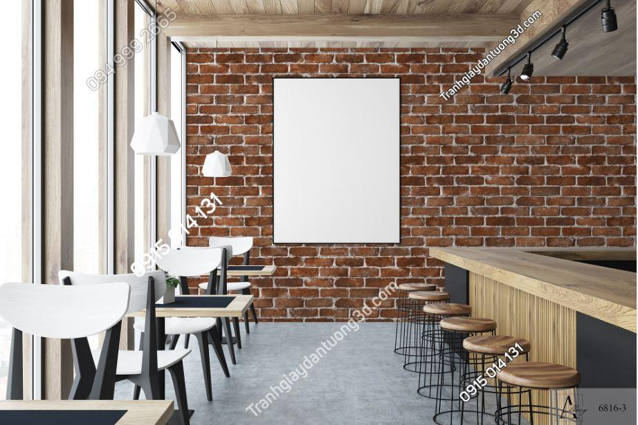 Giấy dán tường giả gạch nâu dán quán cafe 6816-3 KG
