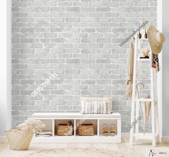 Giấy dán tường giả gạch trắng 6816-1 KG