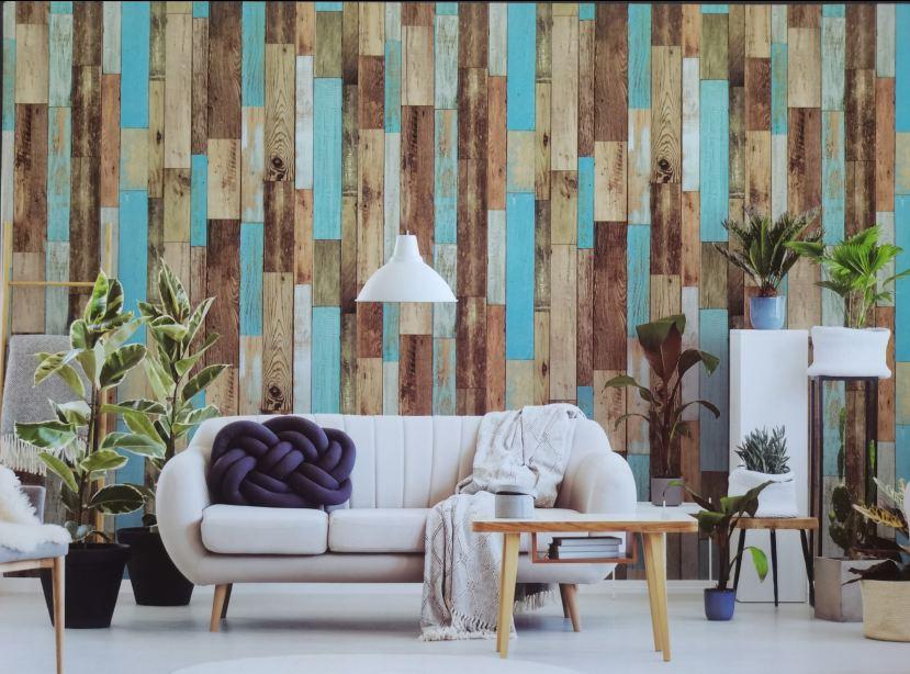 Giấy dán tường giả gỗ ghép Sole 27121 phối cảnh