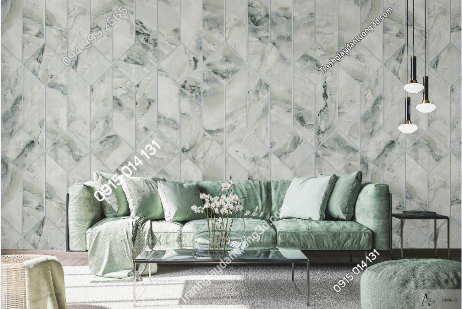 Giấy dán tường họa tiết khối kim cương dán phòng khách 6806-3 KG