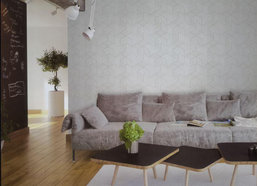 Giấy dán tường khối vuông 3 chiều đan sọc 63072 phối cảnh