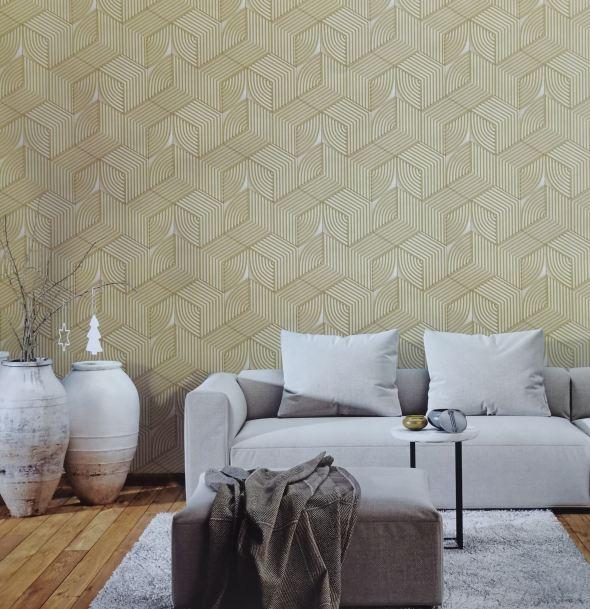 Giấy dán tường khối vuông 3 chiều đan sọc 63074 phối cảnh
