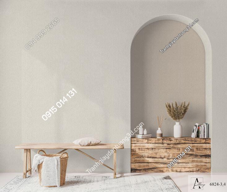 Giấy dán tường một màu trắng nâu 6824-3-4 KG