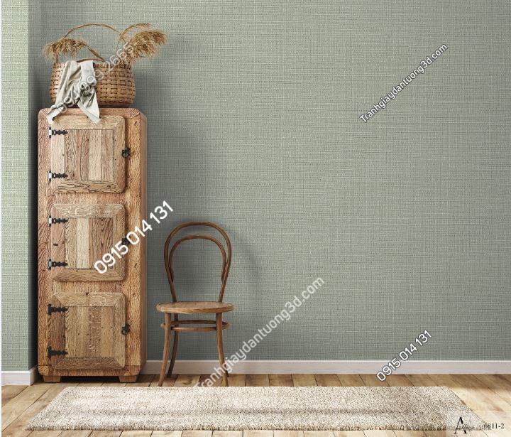 Giấy dán tường một màu xanh rêu 6811-2 KG