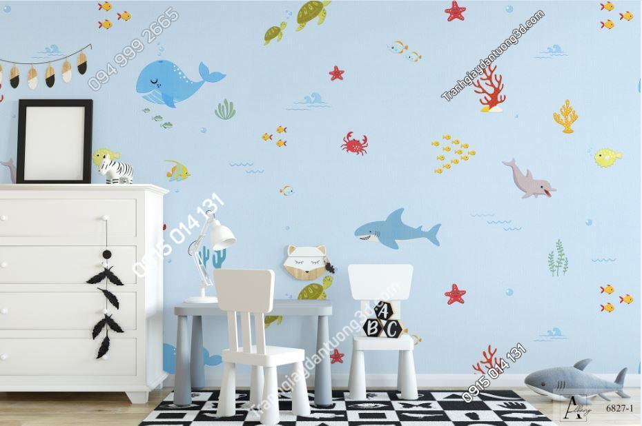 Giấy dán tường trẻ em đại dương cá 6827-1 KG