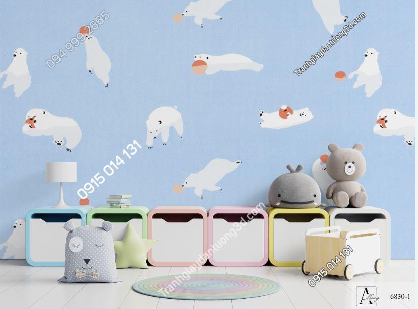 Giấy dán tường trẻ em gấu trắng nền xanh 6830-1 KG