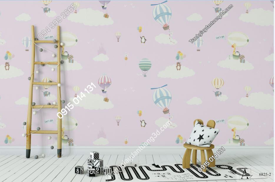 Giấy dán tường trẻ em khinh khí cầu hồng 6825-2 KG