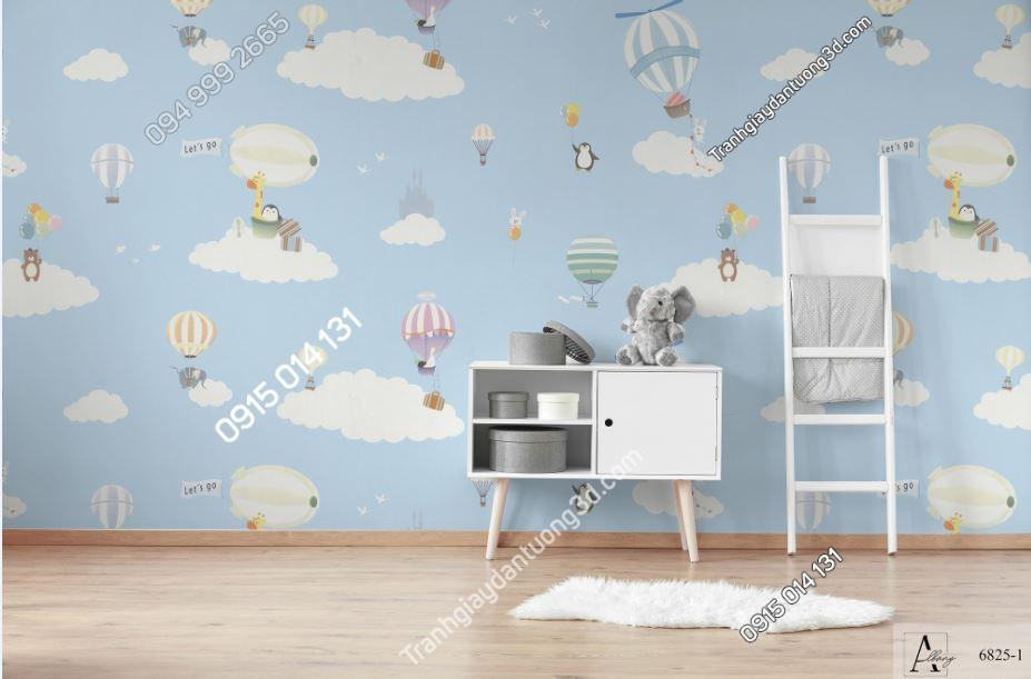 Giấy dán tường trẻ em khinh khí cầu xanh 6825-1 KG