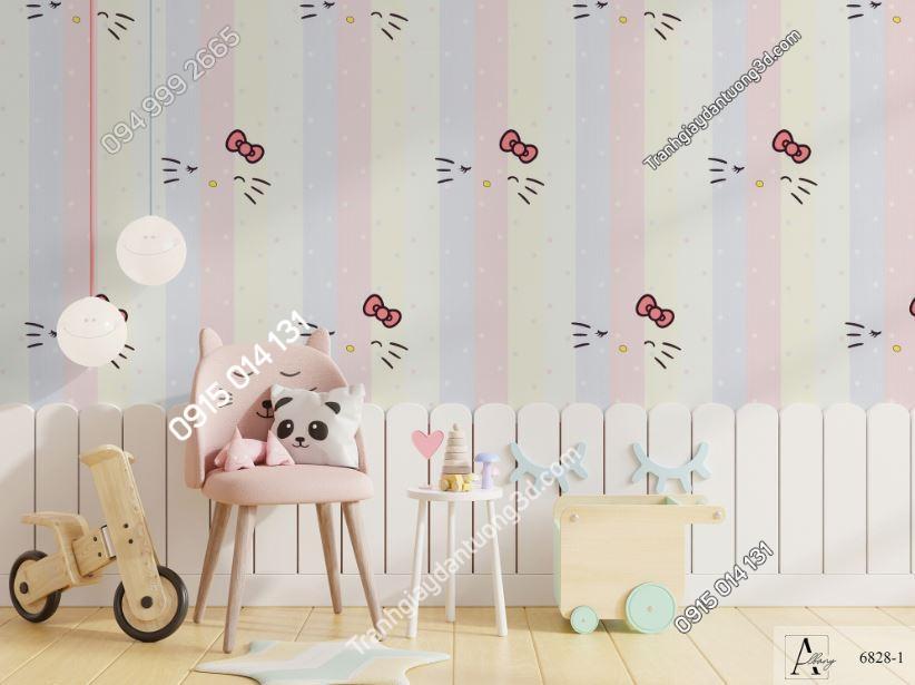 Giấy dán tường trẻ em sọc dọc mèo hello kitty 6828-1 KG