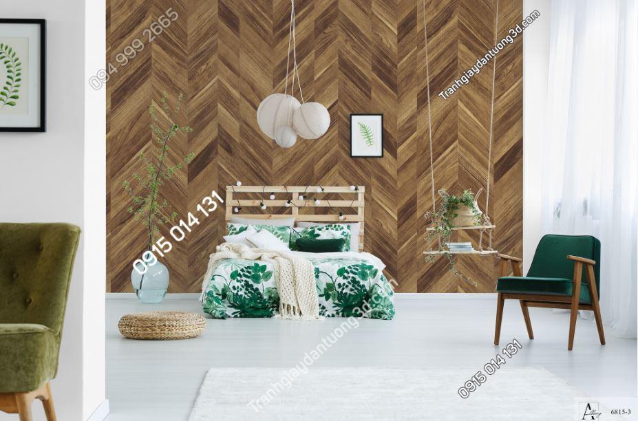 Tranh dán tường giả gỗ nâu đậm sọc chéo 6815-3 KG