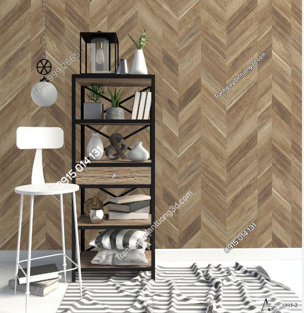 Tranh dán tường giả gỗ nâu sọc chéo 6815-2 KG