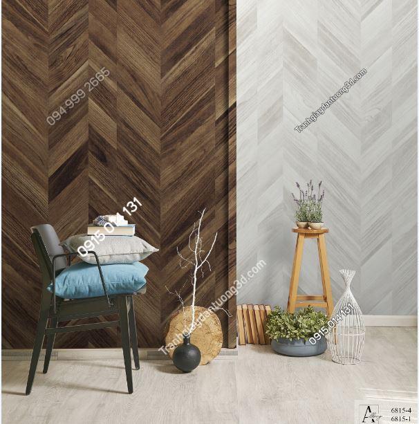 Tranh dán tường giả gỗ nâu và trắng sọc chéo 6815-4,6815-1 KG